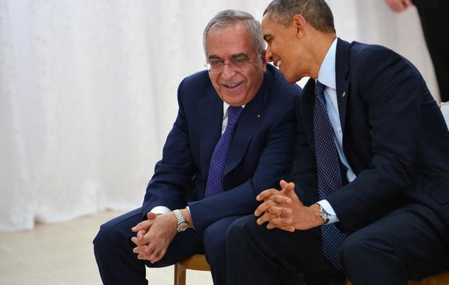 Le président américain Barack Obama discute avec le Premier ministre palestinien Salam Fayyad à Ramallah le 21 mars 2013 [Mandel Ngan / AFP/Archives]