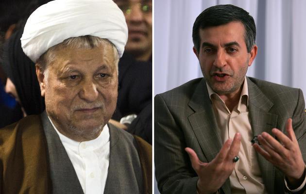 Montage de photos d'archives de Rafsanjani (g) le 11 mai 2013 et Mashaïe en octobre 2009 à Téhéran [Behrouz Mehri / AFP/Archives]