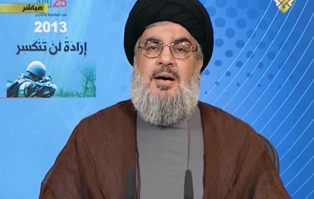 Capture d'écran de la TV al-Manar montrant Hassan Nasrallah, pendant son discours le 25 mai 2013 [- / AFP]