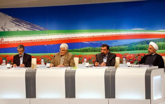 Les candidats à la présidence iranienne participent à un débat télévisé, le 31 mai 2013 à Téhéran [Mehdi Dehghan / AFP]