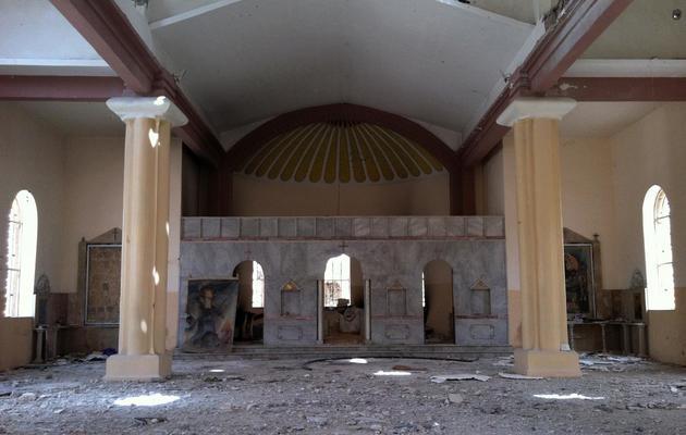 Une photo prise le 9 juin 2013 montre l'intérieur d'une église détruite à Qousseir [ / AFP]