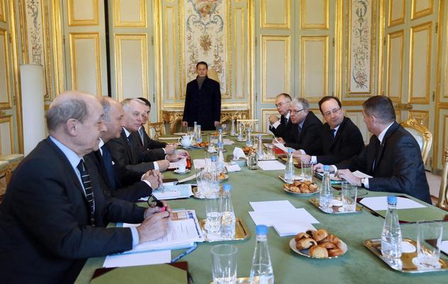 François Hollande 14 janvier 2013 à l'Elysée lors d'une réunion interministérielle sur le Mali [Kenzo Tribouillard / AFP]