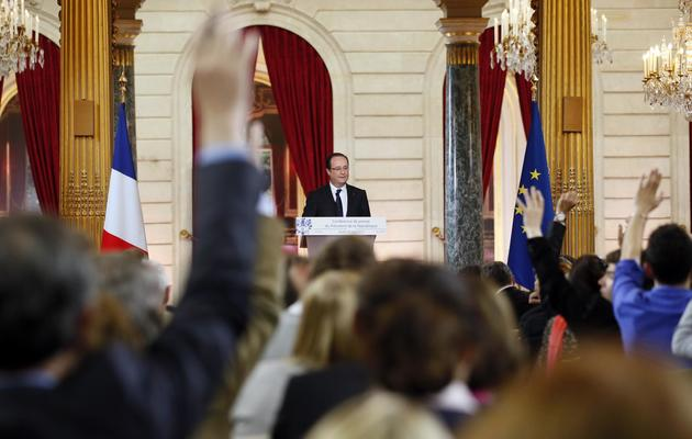 François Hollande face aux journalistes le 16 mai 2013 à l'Elysée [Patrick Kovarik / AFP]
