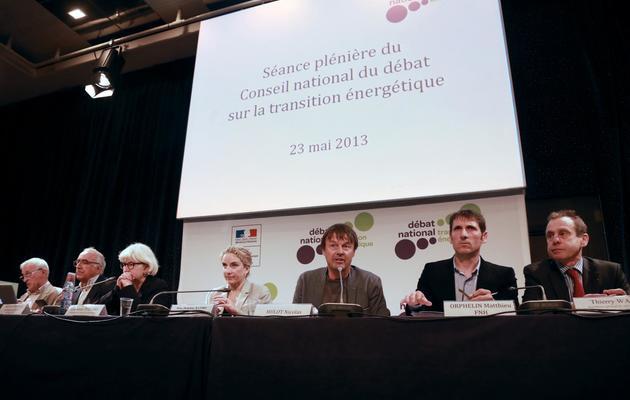 Delphine Batho (4e en partant de la gauche) et Nicolas Hulot (5e), le 23 mai 2013 au débat sur la transition énergétique [Pierre Verdy / AFP]