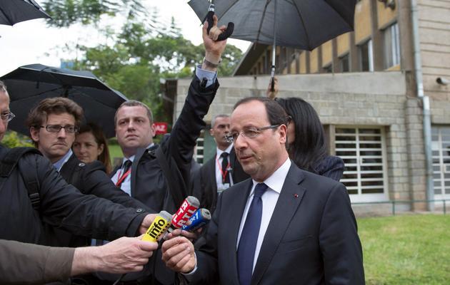 Le président François Hollande, interrogé à Addis Abeba le 25 mai 2013 [Bertrand Langlois / AFP]