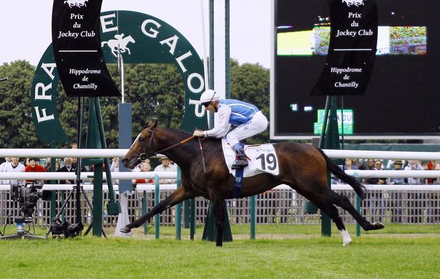 Le jockey Olivier Peslier et son pur-sang Intello franchissent la ligne d'arrivée du prix du Jockey-Club à Chantilly le 2 juin 2013 [Matthieu Rater / AFP]