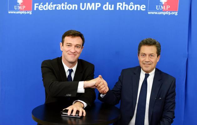 Les deux finalistes de la primaire UMP à Lyon, Michel Havard (G) et Georges Fenech, le 4 juin 2013 [Philippe Merle / AFP]