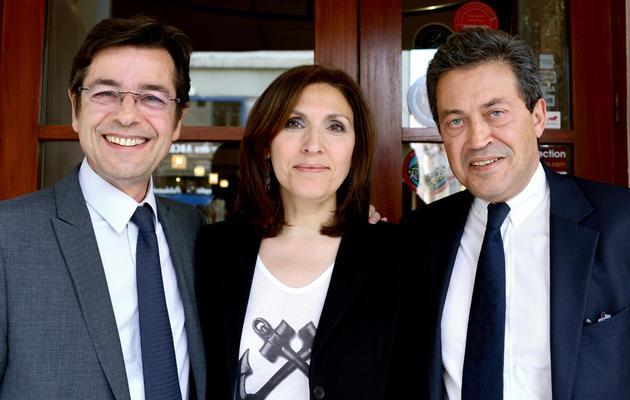 Emmanuel Hamelin (g), la députée européenne Nora Berra et le député Georges Fenech, le 4 juin 2013 à Lyon [Philippe Merle / AFP]