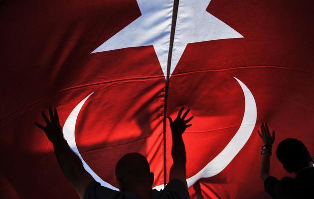 Des opposants au gouvernement tiennent le drapeau national turc à Izmir, le 9 juin 2013 [Ozan Kose / AFP]