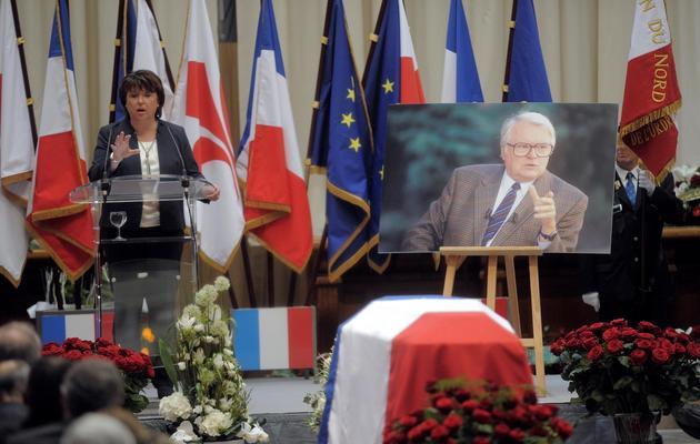 Martine Aubry rend hommage à l'ancien Premier ministre socialiste Pierre Mauroy, le 13 juin 2013 à Lille [Francois Lo Presti / AFP]