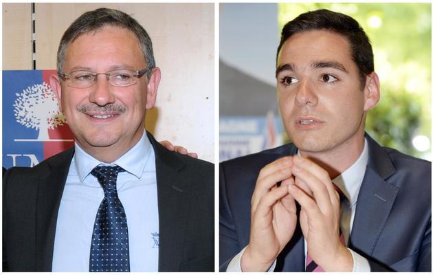 Portraits des deux candidats au second tour de la législative partielle à Villeneuve-sur-Lot, Jean-Louis Costes (g) de l'UMP et Etienne Bousquet-Cassagne du FN [Mehdi Fedouach / AFP]