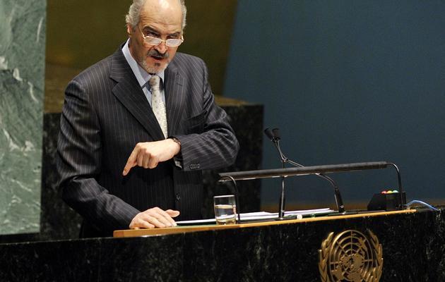 L'ambassadeur syrien Bachar Jaafari, le 15 mai 2013 au siège des Nations Unies à New York [Timothy Clary / AFP]