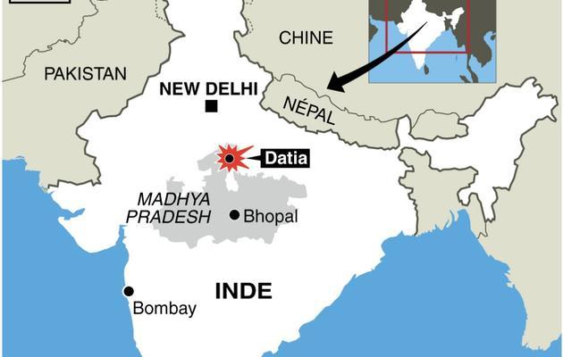 Infographie de localisation de Datia où une bousculade près d'un temple hindou a fait au moins 60 morts [ / AFP]