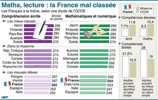 Infographie indiquant la place de la France dans une étude de l'OCDE comparant 24 pays en matière de compétences à l'écrit et en mathématiques [ / AFP]