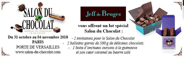 Gagnez votre pack Salon du Chocolat Jeff de Bruges!