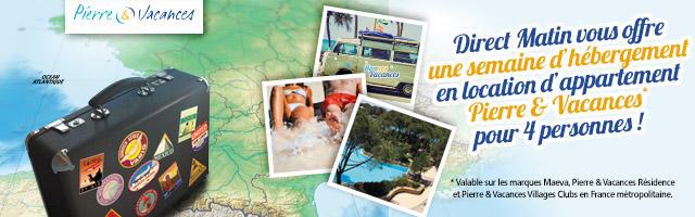 Jeu concours : une semaine de vacances Pierre & Vacances
