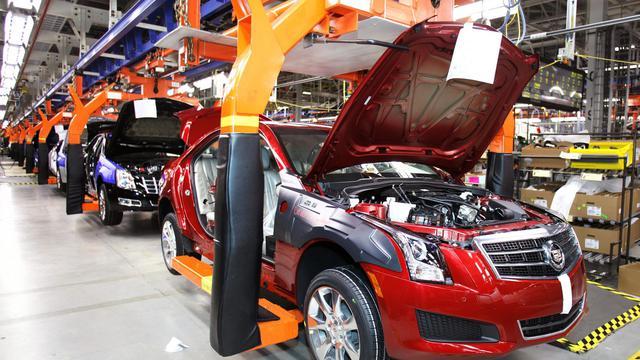 Une chaîne de montage de l'usine Genaral Motors de Lansing (Etats-Unis) [Bill Pugliano / Getty Images/AFP/Archives]