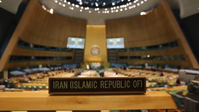 Le siège du président iranien Mahmoud Ahmadinejad à l'Assemblée générale de l'ONU à New York, le 25 septembre 2012 [John Moore / Getty Images/AFP]