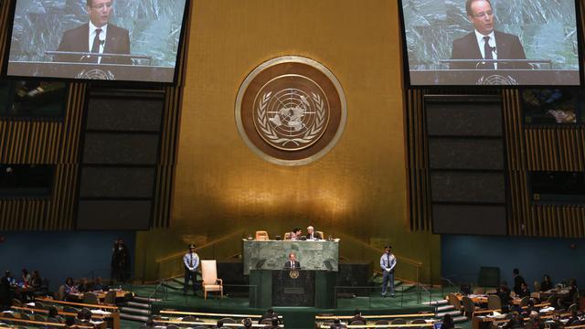 François Hollande à la tribune de l'Assemblée générale de l'ONU le 25 septembre 2012 à New York [John Moore / AFP/Getty Images]