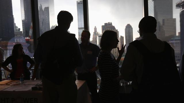 Des candidats lors d'un salon pour l'emploi le 28 septembre 2012 à New York [John Moore / Getty Images/AFP/Archives]