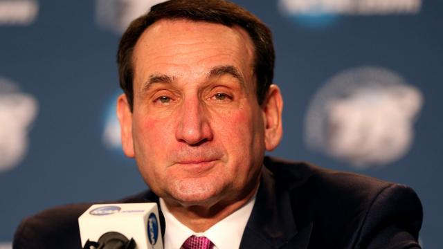 L'entraîneur de la sélection américaine de basket et de l'Université de Duke, Mike Krzyzewski,  lors d'une conférence de presse le 31 mars 2013 à Indianapolis [Andy Lyons / AFP/Getty Images]