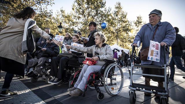 Une manifestation de personnes handicapées sur l'accessibilité aux transports en 2018.