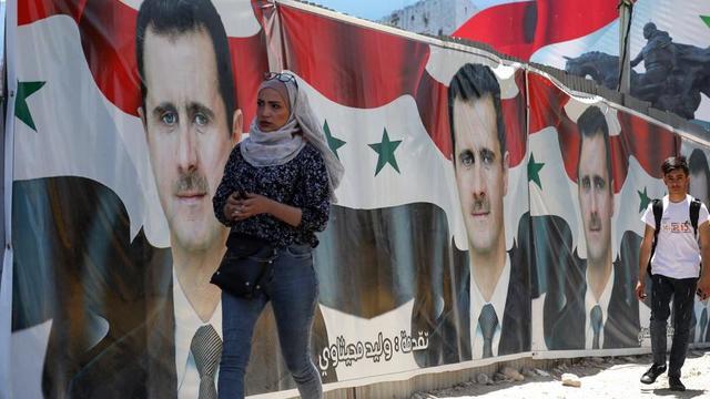 Des affiches du président-candidat Bachar-al Assad ont fleuri dans les rues de Damas.