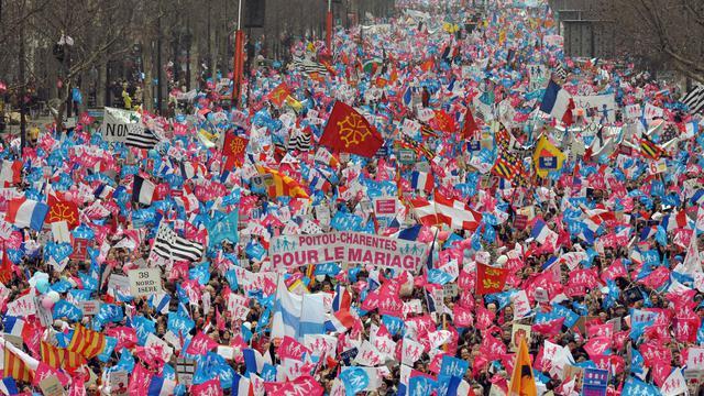 Manifestation contre le mariage homosexuel le 24 mars 2013 à Paris [Pierre Andrieu / AFP]