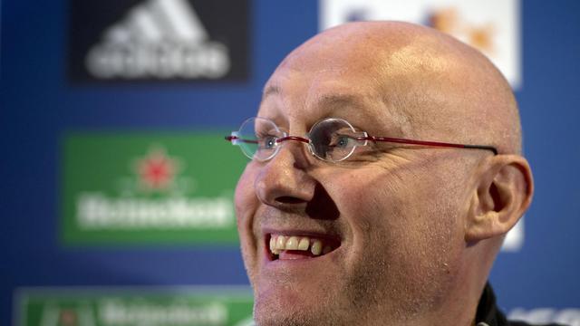 Le manageur de Toulon Bernard Laporte lors d'une conférence de presse à Londres le 26 avril 2013 [Adrian Dennis / AFP]