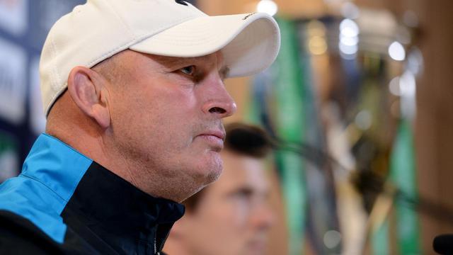L'entraîneur de Clermont Vern Cotter lors d'une conférence de presse, le 17 mai 2013 à Dublin [Franck Fife / AFP/Archives]