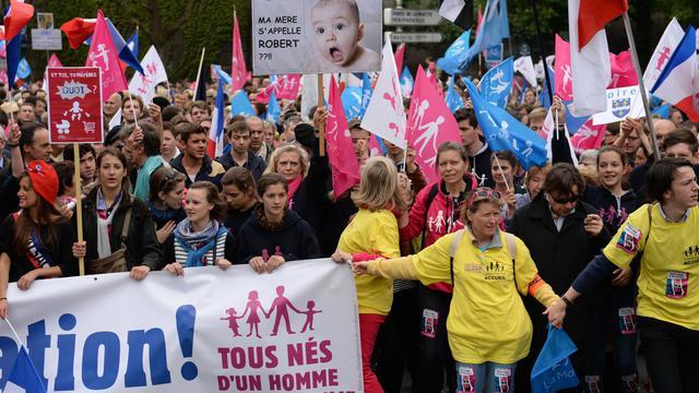 Des opposants au mariage pour tous manifestent près des Invalides, le 26 mai 2013 à Paris
