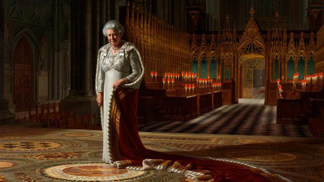 Le portrait de la reine Elizabeth II, exposé à l'Abbaye de Westminster à Londres, par l'artiste australien Ralph Heimans [ / Chapelle de Wetminster/AFP]