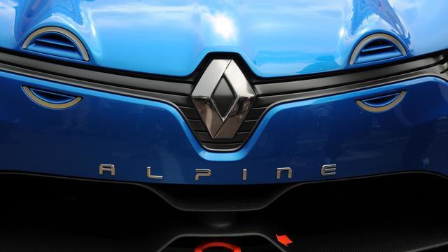 Le logo de Renault sur le concept car Alpine dévoilé le 25 mai 2012 à Monaco [Dimitar Dilkoff / AFP/Archives]