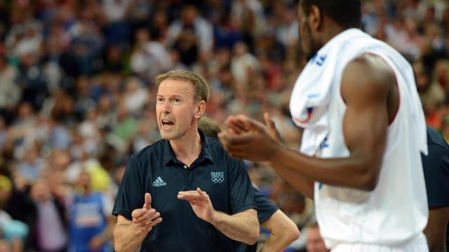 L'entraîneur de l'équipe de France masculine de basket Vincent Collet, lors du quart de finale des JO de Londres, le 8 août 2012. [Mark Ralston / AFP]