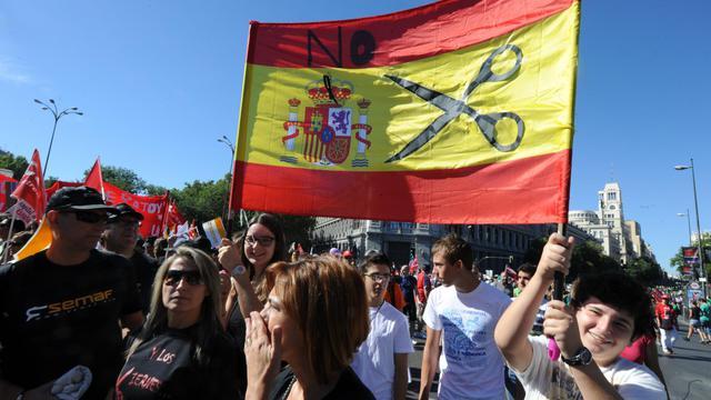 Une manifestation à Madrid contre les mesures d'austérité, le 15 septembre 2012 [Dominique Faget / AFP/Archives]