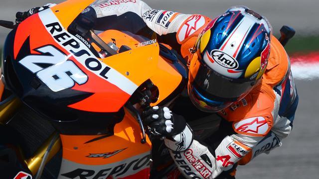 L'Espagnol Dani Pedrosa au guidon de sa Honda aux essais qualificatifs du Grand Prix de Saint-Marin le 15 septembre 2012 à Misano [Gabriel Bouys / AFP]