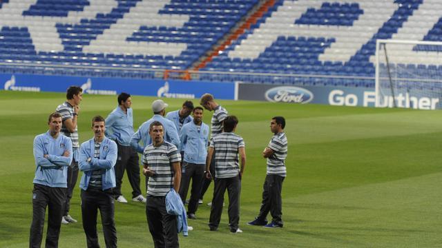Les joueurs de Manchester City, le 127 septembre 2012 à Santiago Bernabeu à Madrid. [Dominique Faget / AFP]