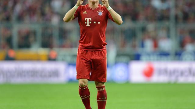 Le milieu de terrain du Bayern Munich Bastian Schweinsteiger lors de la victoire de son équipe face à Wolfsburg en championnat, le 25 septembre 2012. [Christof Stache / AFP]
