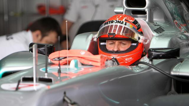Michael Schumacher le 21 avril 2012 lors des essais libres du Grand Prix de Bahreïn [Karim Jaafar / AFP/Archives]