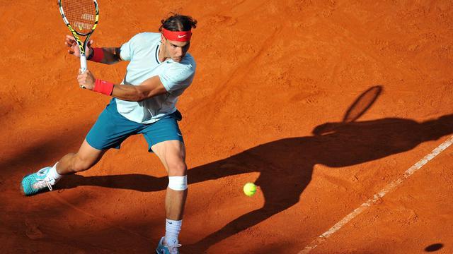 L'Espagnol Rafael Nadal lors de son match contre son compatriote David Ferrer, le 17 mai 2013 à Rome [Tiziana Fabi / AFP]