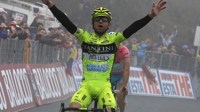 L'Italien Mauro Santambrogio lors de sa victoire à la 14e étape du Giro, le 18 mai 2013 à Bardonecchia. [Luk Benies / AFP/Archives]