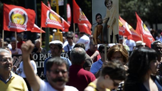 Des manifestants protestent, le 25 mai 2013 à Belem, contre l'austérité mise en oeuvre par le gouvernement portugais [Francisco Leong / AFP/Archives]