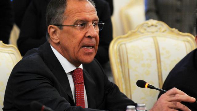 Le ministre russe des Affaires étrangères Sergueï Lavrov s'exprime le 29 mai 2013 à Moscou [Yuri Kadobnov / AFP]