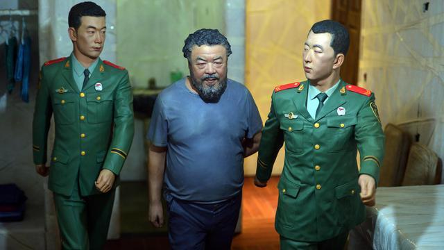 Une scène de l'artiste chinois Ai Weiwei présentant sa détention, exposée à Venise, le 29 mai 2013 [Gabriel Bouys / AFP]