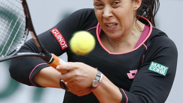 Marion Bartoli pendant son match victorieux contre Mariana Duque-Marino, le 31 mai 2013 à Roland-Garros à Paris [Patrick Kovarik / AFP]