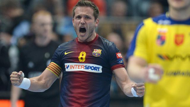 Victor Tomas Gonzalez de Barcelone célèbre la qualification pour la finale de la Ligue des champions de handball le 1er juin 2013 à Cologne [Patrik Stollarz / AFP]