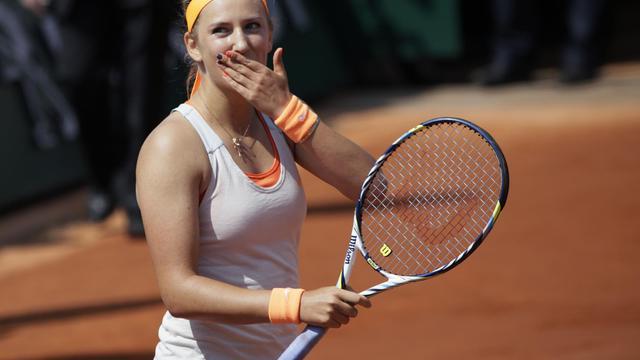 La Bélarusse Victoria Azarenka, après sa victoire contre Maria Kirilenko,en quart de finale de Roalnd-Garros, le 5 juin 2013 à Paris [Kenzo Tribouillard / AFP]