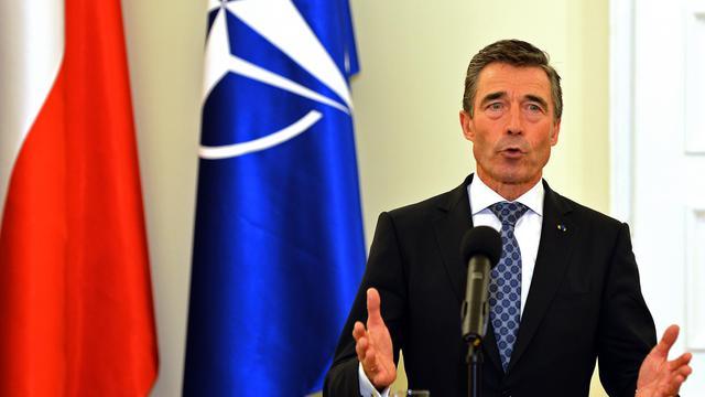 Le secrétaire général de l'Otan, Anders Fogh Rasmussem, tient une conférence de presse à Varsovie, le 6 juin 2013 [Janek Skarzynski / AFP/Archives]