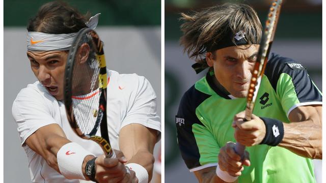 Une photo montage de Rafael Nadal (g) et David Ferrer, qui s'affrontent dimanche en finale du tournoi de Roland-Garros, réalisée le 8 juin 2013 [Patrick Kovarik / AFP]