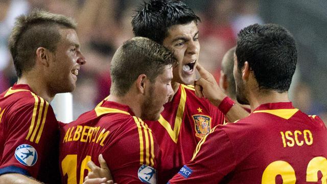 La sélection Espoirs espagnole fêtent un but d'Alvaro Morata, contre l'Allemagne, lors de l'Euro le 9 juin 2013 à Tel Aviv [Jack Guez / AFP]